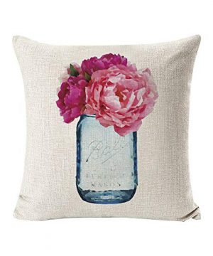 INSHERE 2 Pack Hello Spring Flower Throw Pillow Covers Only Decorative Square Pillowcases Cotton Linen Cushion Cover 18 X 18 Inch Hello Spring 2 0 1 300x360
