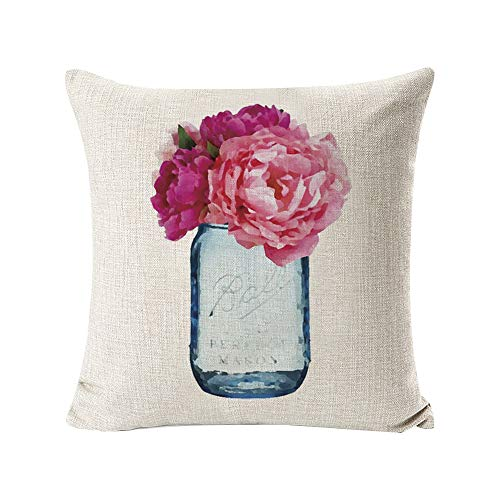 INSHERE 2 Pack Hello Spring Flower Throw Pillow Covers Only Decorative Square Pillowcases Cotton Linen Cushion Cover 18 X 18 Inch Hello Spring 2 0 1