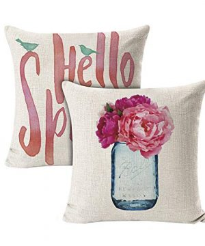 INSHERE 2 Pack Hello Spring Flower Throw Pillow Covers Only Decorative Square Pillowcases Cotton Linen Cushion Cover 18 X 18 Inch Hello Spring 2 0 300x360