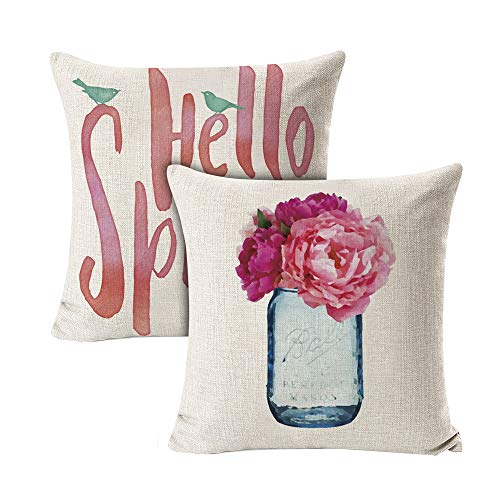 INSHERE 2 Pack Hello Spring Flower Throw Pillow Covers Only Decorative Square Pillowcases Cotton Linen Cushion Cover 18 X 18 Inch Hello Spring 2 0