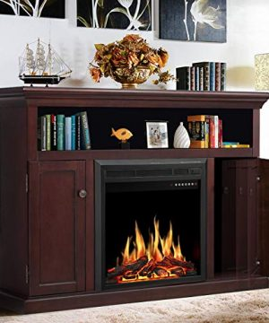 JAMFLY Electric Fireplace TV Stand Wood Mantel For TV Up To 55 Media Entertainment Center Fireplace Console Cabinet WLED Flames Storage Bin Touch ScreenRemote Control 750W 1500W Dark Espresso 0 300x360