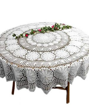 KEPSWET Floral Cotton Handmade Crochet Lace Tablecloth 84 Inch Round White Table Overlay Decor 0 300x360
