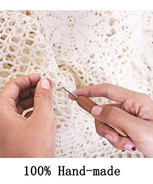 KEPSWET Floral Cotton Handmade Crochet Lace Tablecloth 84 Inch Round White Table Overlay Decor 0 5 300x360