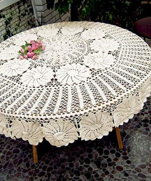 KEPSWET Vintage Floral Cotton Handmade Crochet Round Tablecloth Lace Flower Doily Pretty Decoration Table Overlay 72 Inch Round Beige 0 0 300x360