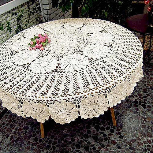 KEPSWET Vintage Floral Cotton Handmade Crochet Round Tablecloth Lace Flower Doily Pretty Decoration Table Overlay 72 Inch Round Beige 0 0