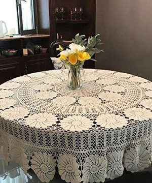 KEPSWET Vintage Floral Cotton Handmade Crochet Round Tablecloth Lace Flower Doily Pretty Decoration Table Overlay 72 Inch Round Beige 0 1 300x360