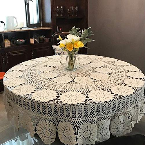 KEPSWET Vintage Floral Cotton Handmade Crochet Round Tablecloth Lace Flower Doily Pretty Decoration Table Overlay 72 Inch Round Beige 0 1