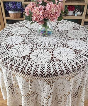 KEPSWET Vintage Floral Cotton Handmade Crochet Round Tablecloth Lace Flower Doily Pretty Decoration Table Overlay 72 Inch Round Beige 0 2 300x360
