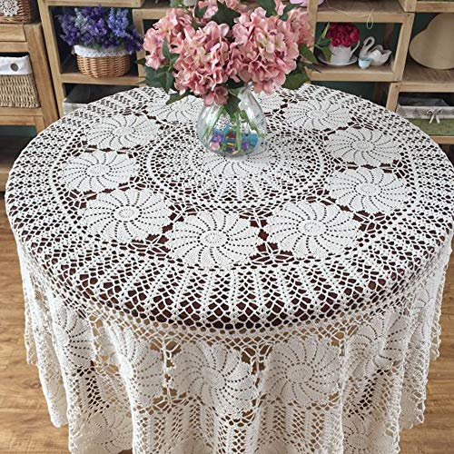 KEPSWET Vintage Floral Cotton Handmade Crochet Round Tablecloth Lace Flower Doily Pretty Decoration Table Overlay 72 Inch Round Beige 0 2