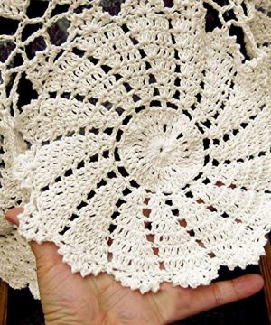 KEPSWET Vintage Floral Cotton Handmade Crochet Round Tablecloth Lace Flower Doily Pretty Decoration Table Overlay 72 Inch Round Beige 0 3 300x360