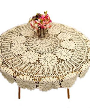 KEPSWET Vintage Floral Cotton Handmade Crochet Round Tablecloth Lace Flower Doily Pretty Decoration Table Overlay 72 Inch Round Beige 0 300x360