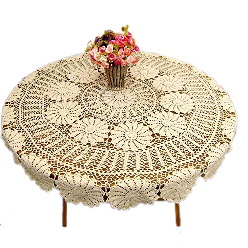 KEPSWET Vintage Floral Cotton Handmade Crochet Round Tablecloth Lace Flower Doily Pretty Decoration Table Overlay 72 Inch Round Beige 0