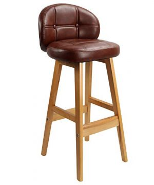 KKTONER PU Leather Bar Stool Retro Solid Wood Industrial Style Modern Padded Upholstered Kitchen Stool With Low Backrest 0 300x360