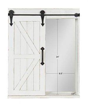 Kate And Laurel Cates Wood Wall Storage Cabinet With Vanity Mirror And Sliding Barn Door Rustic White 0 0 300x360