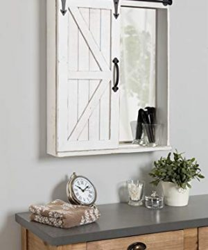 Kate And Laurel Cates Wood Wall Storage Cabinet With Vanity Mirror And Sliding Barn Door Rustic White 0 2 300x360