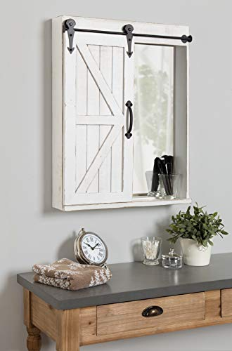 Kate And Laurel Cates Wood Wall Storage Cabinet With Vanity Mirror And Sliding Barn Door Rustic White 0 2