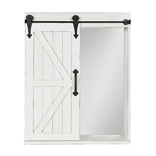 Kate And Laurel Cates Wood Wall Storage Cabinet With Vanity Mirror And Sliding Barn Door Rustic White 0