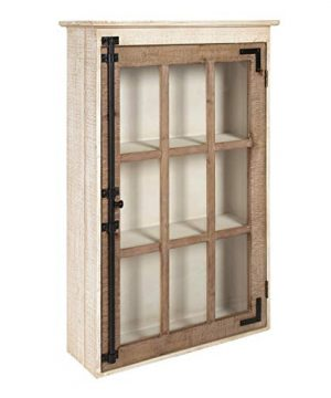 Kate And Laurel Hutchins Farmhouse Wood Wall Storage Cabinet With Window Pane Glass Door Rustic And White Washed Finish 315 Inches Tall X 195 Inches Wide X 6 Inches Deep 0 300x360