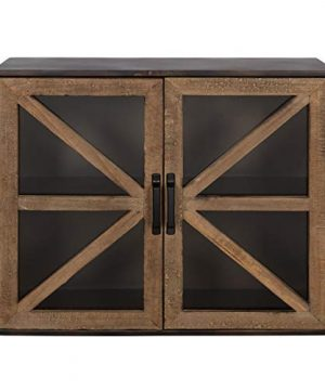 Kate And Laurel Mace Farmhouse Rustic Wood And Metal Wall Mounted Double Door Storage Cabinet 0 300x360
