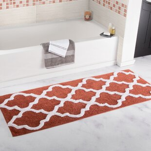 Keating+Long+Trellis+Rectangular+100+Cotton+Non-Slip+Geometric+Bath+Rug