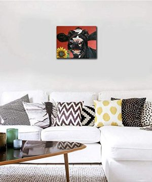 Kingsleyton Rustic Funny Black Farm Cow Sunflower Farmhouse Animal Black And Red Calf Cattle Dairy Barnyard Wall Art Paintings Modern Home Decor Stretched And Framed Ready To Hang 16 X 20 0 1 300x360