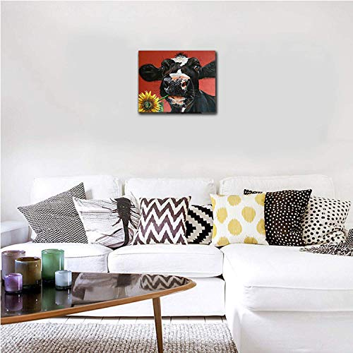 Kingsleyton Rustic Funny Black Farm Cow Sunflower Farmhouse Animal Black And Red Calf Cattle Dairy Barnyard Wall Art Paintings Modern Home Decor Stretched And Framed Ready To Hang 16 X 20 0 1