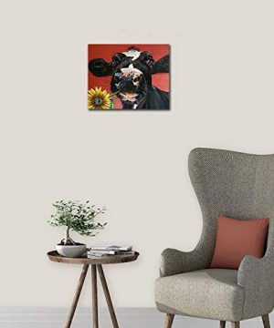 Kingsleyton Rustic Funny Black Farm Cow Sunflower Farmhouse Animal Black And Red Calf Cattle Dairy Barnyard Wall Art Paintings Modern Home Decor Stretched And Framed Ready To Hang 16 X 20 0 2 300x360