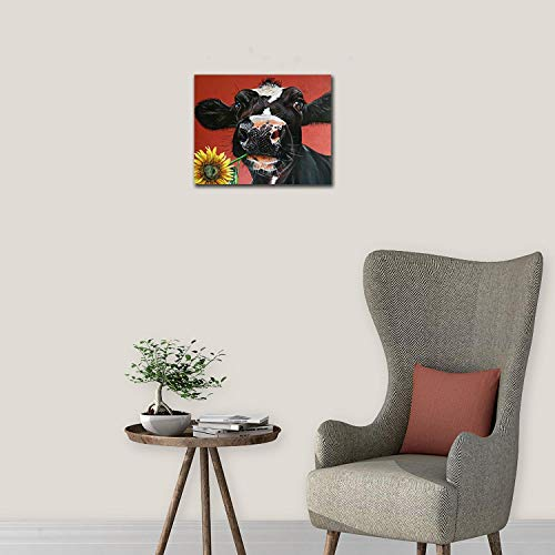 Kingsleyton Rustic Funny Black Farm Cow Sunflower Farmhouse Animal Black And Red Calf Cattle Dairy Barnyard Wall Art Paintings Modern Home Decor Stretched And Framed Ready To Hang 16 X 20 0 2