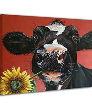 Kingsleyton Rustic Funny Black Farm Cow Sunflower Farmhouse Animal Black And Red Calf Cattle Dairy Barnyard Wall Art Paintings Modern Home Decor Stretched And Framed Ready To Hang 16 X 20 0 300x360