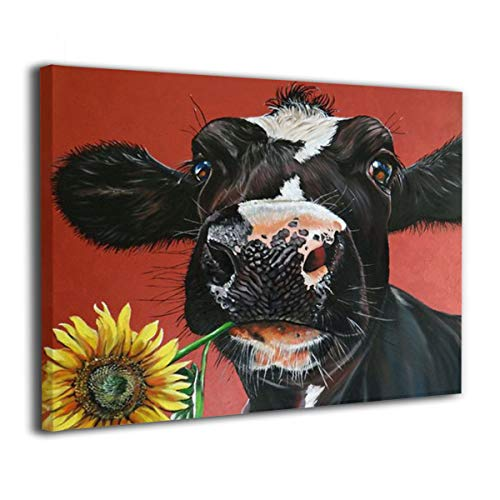 Kingsleyton Rustic Funny Black Farm Cow Sunflower Farmhouse Animal Black And Red Calf Cattle Dairy Barnyard Wall Art Paintings Modern Home Decor Stretched And Framed Ready To Hang 16 X 20 0