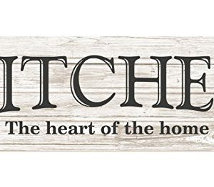 Kitchen The Heart Of The Home Rustic Wood Wall Sign 6x18 White 0 300x263