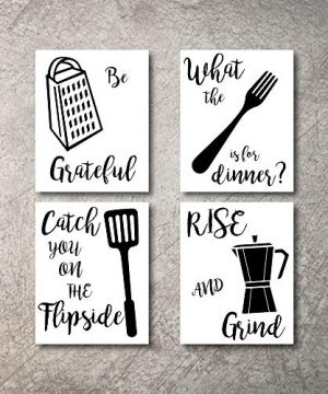 Kitchen Wall Decor Art Prints 4 UNFRAMED Rustic Wall Signs Home Coffee Decor Pictures Funny And Inspirational Farmhouse Style Wall Decorations Living Dining Room Cuadros Pared De Cocina BW 8X10 0 300x360