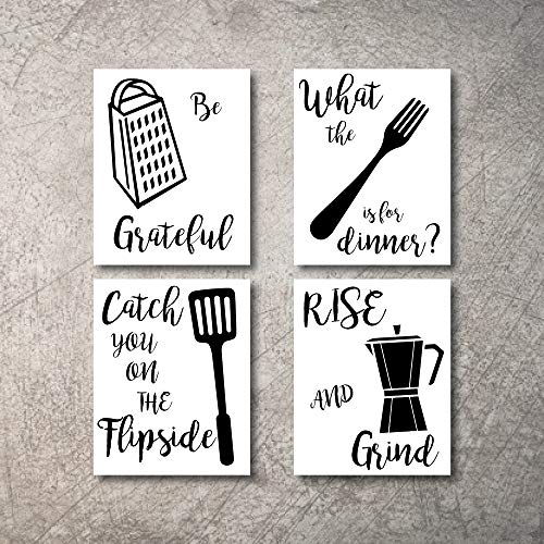 Kitchen Wall Decor Art Prints 4 Unframed Rustic Signs Home Coffee Pictures Funny And Inspirational Farmhouse Goals