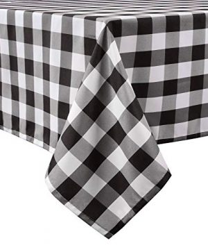 LEEVAN Buffalo Plaid Tablecloth Rectangle Stain Resistant Spillproof And Washable Polyester Table Cover Checkered Gingham Table Cloth For Kitchen Dinner Farmhouse Black And White 60x60 Inch 0 300x360