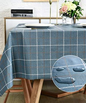 LOHASCASA Plastic Tablecloth Wipeable Small Square Vinyl Spillproof Oilcloth Party Tablecloths Farmhouse Luau Dining Tablecloth Navy Blue Plaid 54x54 Inch 0 300x360