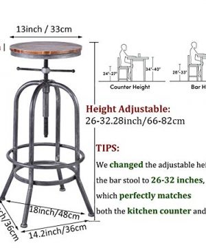 LOKKHAN Industrial Bar Stool Vintage Adjustable Swivel Metal Wood Stool Rustic Farmhouse Bar Stool Cast Iron 26 323 Inch Kitchen Counter Height Bar Height Silver2pcs 0 0 300x360