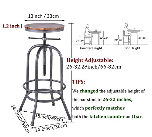 LOKKHAN Industrial Bar Stool Vintage Adjustable Swivel Metal Wood Stool Rustic Farmhouse Bar Stool Cast Iron 26 323 Inch Kitchen Counter Height Bar Height Silver2pcs 0 0