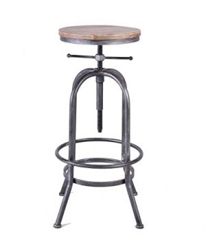 LOKKHAN Industrial Bar Stool Vintage Adjustable Swivel Metal Wood Stool Rustic Farmhouse Bar Stool Cast Iron 26 323 Inch Kitchen Counter Height Bar Height Silver2pcs 0 1 300x360