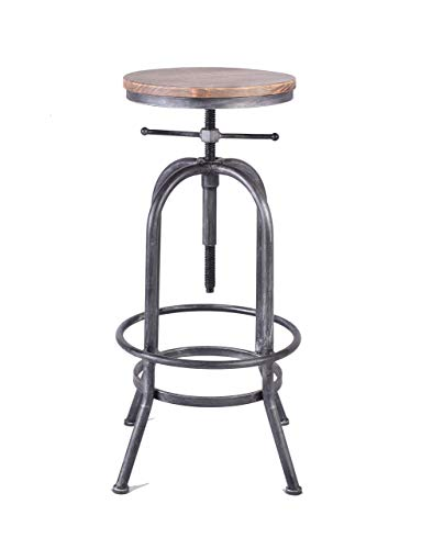 LOKKHAN Industrial Bar Stool Vintage Adjustable Swivel Metal Wood Stool Rustic Farmhouse Bar Stool Cast Iron 26 323 Inch Kitchen Counter Height Bar Height Silver2pcs 0 1