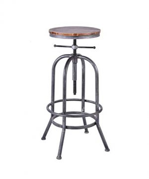 LOKKHAN Industrial Bar Stool Vintage Adjustable Swivel Metal Wood Stool Rustic Farmhouse Bar Stool Cast Iron 26 323 Inch Kitchen Counter Height Bar Height Silver2pcs 0 2 300x360