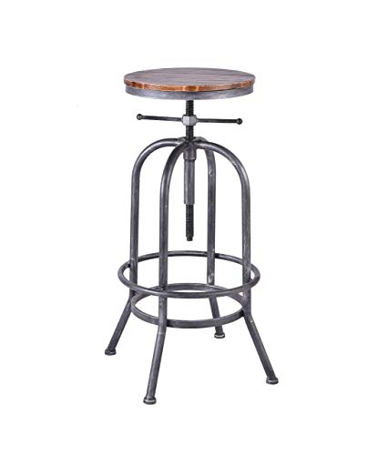 LOKKHAN Industrial Bar Stool Vintage Adjustable Swivel Metal Wood Stool Rustic Farmhouse Bar Stool Cast Iron 26 323 Inch Kitchen Counter Height Bar Height Silver2pcs 0 2