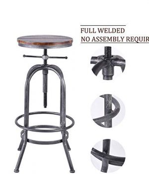 LOKKHAN Industrial Bar Stool Vintage Adjustable Swivel Metal Wood Stool Rustic Farmhouse Bar Stool Cast Iron 26 323 Inch Kitchen Counter Height Bar Height Silver2pcs 0 3 300x360
