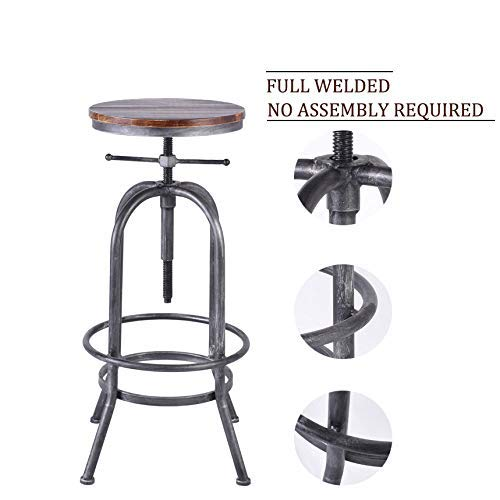 LOKKHAN Industrial Bar Stool Vintage Adjustable Swivel Metal Wood Stool Rustic Farmhouse Bar Stool Cast Iron 26 323 Inch Kitchen Counter Height Bar Height Silver2pcs 0 3