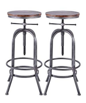 LOKKHAN Industrial Bar Stool Vintage Adjustable Swivel Metal Wood Stool Rustic Farmhouse Bar Stool Cast Iron 26 323 Inch Kitchen Counter Height Bar Height Silver2pcs 0 300x360