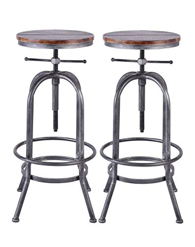 LOKKHAN Industrial Bar Stool Vintage Adjustable Swivel Metal Wood Stool Rustic Farmhouse Bar Stool Cast Iron 26 323 Inch Kitchen Counter Height Bar Height Silver2pcs 0