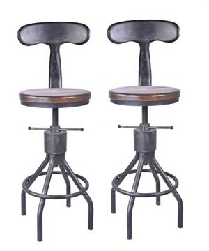 LOKKHAN Set Of 2 Industrial Bar Stool Adjustable Swivel Wood Metal Bar StoolExtra Tall Farmhouse Bar Stool234 33 Inch Seat Heightwith Backrest 0 300x360