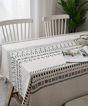 Lahome Boho Style Geometric Tablecloth Cotton Linen Table Cover Kitchen Dining Room Restaurant Party Decoration White Round 60 0 300x360