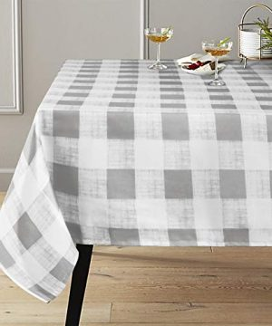 Lahome Checkered Tablecloth Spillproof Water Resistant Polyester Plaid Tablecloth Table Cover For Kitchen Dining Room Restaurant Party Picnic Decoration Gray Rectangle 60 X 102 0 300x360
