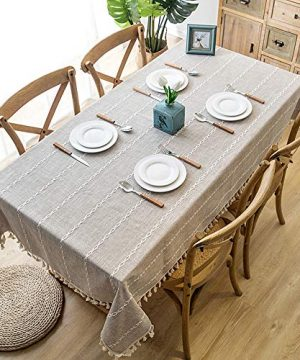 Lahome Embroidery Stripe Tassel Tablecloth Heavy Weight Cotton Linen Washable Table Cover For Kitchen Dining Room Restaurant Party Decoration Linen Rectangle 55 X 70 0 0 300x360