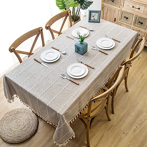 Lahome Embroidery Stripe Tassel Tablecloth Heavy Weight Cotton Linen Washable Table Cover For Kitchen Dining Room Restaurant Party Decoration Linen Rectangle 55 X 70 0 0